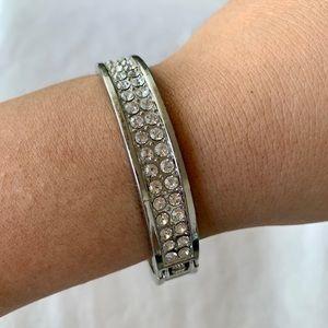 Silver Rhinestone and Glitter Snap Cuff Bracelet